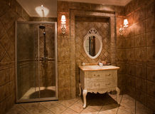 The shower room. The changing of family decoration to the hotel style, shown in the picture is a shower room of Chinese villa Stock Photography