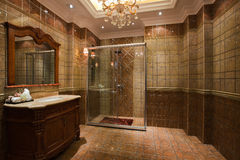 The shower room. The changing of family decoration to the hotel style, shown in the picture is a shower room of Chinese villa stock photo