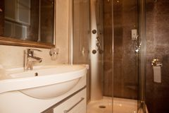 Shower room close up. Shower room in hotel, close up royalty free stock image