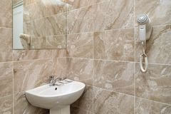 Shower room. Interior elements. The interior of the hotel room in a classic style. Shower room. Interior elements stock images