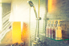 Shower while running ( Filtered image processed vintage ef Royalty Free Stock Image