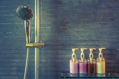 Shower while running  ( Filtered image processed vintage ef Stock Image