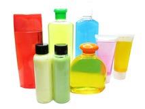Shower set shampoo shower gel body creme bottles Stock Photography