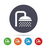 Shower sign icon. Douche with water drops symbol. Royalty Free Stock Image