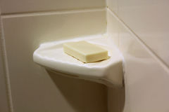 Shower soap. White corner shower soap and dish Stock Images