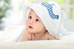 After shower time. Adorable baby After shower time Royalty Free Stock Images