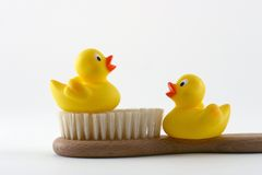 Shower together. Two yellow rubber ducks with brush Stock Photo