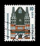 Shower Townhall, Wernigerode, siktar serie, circa 2000 Arkivfoto