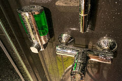 Shower tube chrome armature. After shower splash stock images