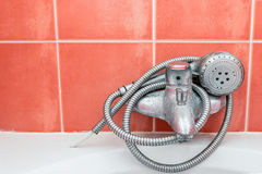 Shower warp around faucet Stock Photos