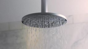 Shower water flowing stock footage