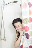 Shower woman. Happy smiling woman washing shoulder Royalty Free Stock Images