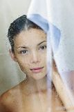 Shower woman portrait Royalty Free Stock Photography