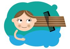 Showering and combing Royalty Free Stock Photo