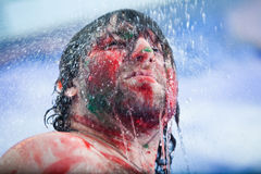 Showering man portrait Stock Images