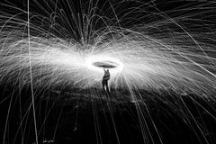 Showers of hot glowing sparks Royalty Free Stock Image