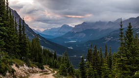 Showers move into Peyto Valley at sunset Stock Photos
