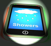 Showers On Phone Displays Rain Rainy Weather Royalty Free Stock Photo