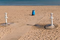Showers to wash your feet and remove the sand on the beach. Showers to wash your feet and remove the sand Stock Images