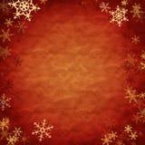 Showflakes über rotem Tuch Lizenzfreies Stockfoto