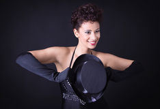Showgirl in black - phantastic and charming. Royalty Free Stock Images