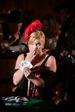 Showgirl With Hand of Cards Royalty Free Stock Photo