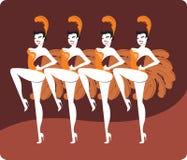 showgirls royaltyfri illustrationer