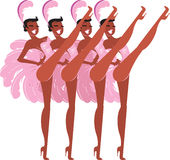 Showgirls. Beautiful retro style showgirls dancing cancan Royalty Free Stock Images