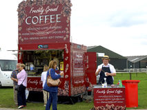 Showground mobile Coffee Kiosk. A mobile showground Coffee kiosk selling refreshments at the UK Motorhome and Caravan Autumn fair at the Newark showground Royalty Free Stock Photography
