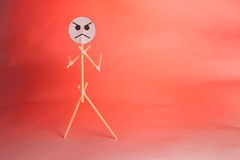 Showing anger. Abstract representation of the anger with toothpicks stock photo