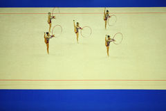 Showing of artistic gymnastics hoop Stock Photos
