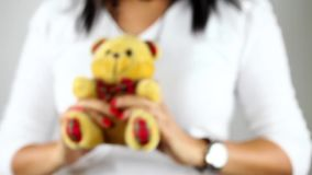Showing bear toy. Showing sweet bear toy video stock footage
