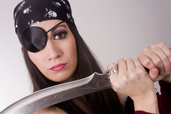 Female Pirate Showing Large Knife Blade Eyepatch Stock Photo