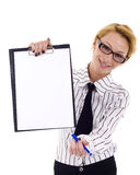 Showing blank clipboard Royalty Free Stock Photo