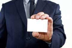 Showing a business card Stock Photography