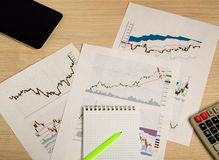 Showing business and financial report. stock charts Stock Photos