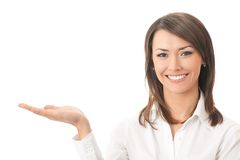 Showing businesswoman, isolated Stock Image