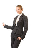 Showing businesswoman, isolated Stock Photo
