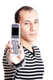 Showing a cellphone Royalty Free Stock Photo