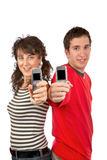 Showing cellphones screens Royalty Free Stock Photography