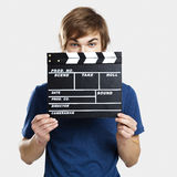 Showing a clapboard Stock Images