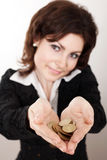 Showing coins Stock Images