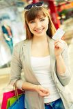 Showing credit card Royalty Free Stock Photos