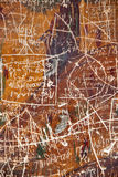 Scratches on a painted ancient wall in Trabzon Turkey. Showing the destruction by the visitors to the ancient paintings dates back to 386 AD Royalty Free Stock Images