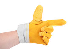 Showing direction. Hand in protective glove showing direction Royalty Free Stock Photography