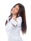 Showing display card or mobile cell phone display. Business woman show blank card or mobile cell phone display on a white background. Focus on the hand stock photo