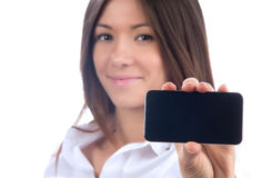 Showing display of her new touch mobile cell phone Royalty Free Stock Photos