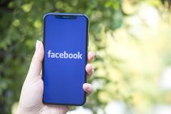 Turkey, Istanbul - September 15.2018: Hands on experience on Facebook. Reviewing Facebook application. Showing Facebook on mobilep royalty free stock image