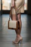 Showing Fancy Bag modelo Fotografia de Stock Royalty Free