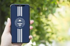 Turkey, Istanbul - September 15.2018: Hands on experience on fenerbahce. Reviewing fenerbahce application. Showing fenerbahce on m. Showing fenerbahce on mobile royalty free stock image